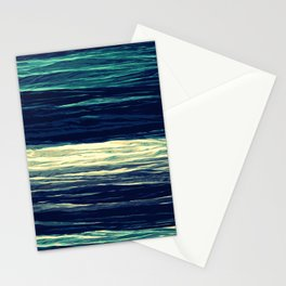 Blue Teal Texture Stripes Stationery Cards