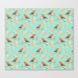 Vintage Redbreast Robin Pattern Canvas Print
