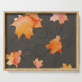 Falling Leaves Brown Serving Tray