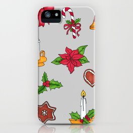 Christmas pattern (#2 grey) iPhone Case