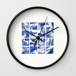 Chinoiserie Blue and White China 16 Square Tile Wall Clock
