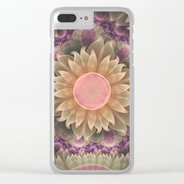 Pastel Pearl Lotus Garden of Fractal Dahlia Flowers Clear iPhone Case