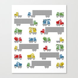 Trucks Childrens Room Decor Canvas Print