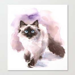Watercolor Siamese Cat Canvas Print
