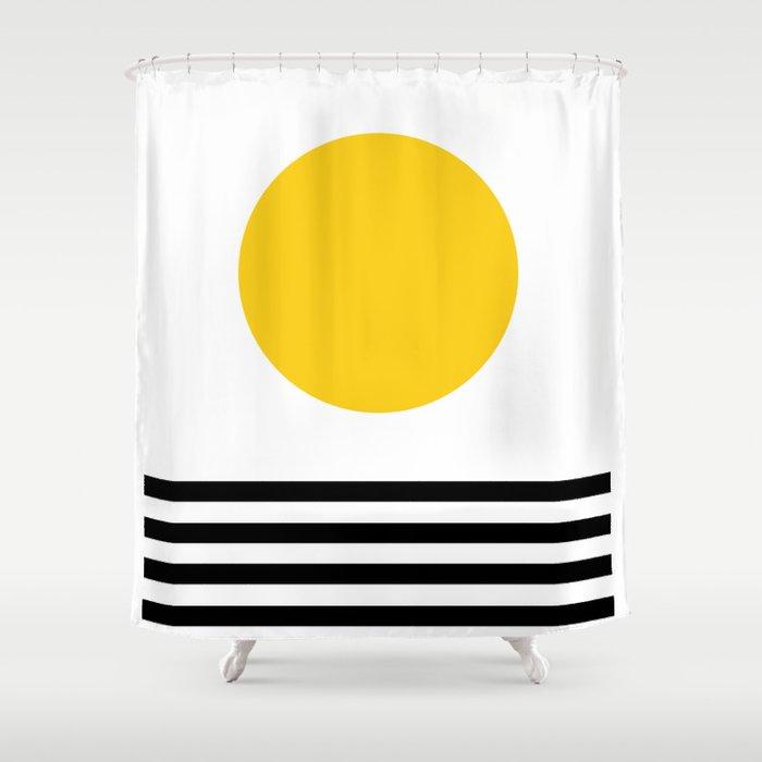 Midcentury Yellow Minimalist Sunset With Black Stripes Shower Curtain