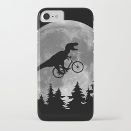 Biker t rex In Sky With Moon 80s Parody iPhone Case