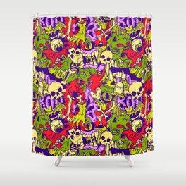 Halloween zombie multcoor pattern Shower Curtain