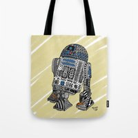 r2d2 Tote Bags featuring R2D2 by Rebecca Bear