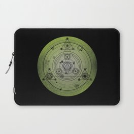 Green distressed design with sacred geometry symbols Laptop Sleeve