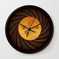 sun and moon Wall Clocks featuring sun-moon by Vila Propuh