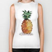 pineapple Biker Tanks featuring Pineapple by Bridget Davidson