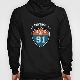 Vintage Made In 91 1991 Birthday Gift Hoody