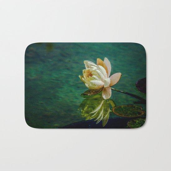 Water Lily after rain Bath Mat