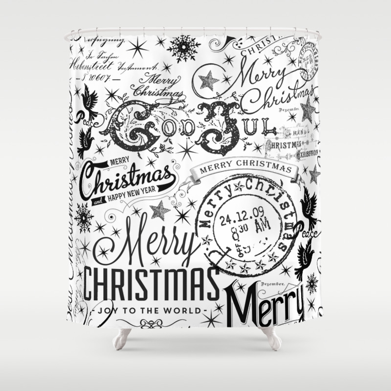Christmas Images Black And White.Black And White Christmas Typography Design Shower Curtain
