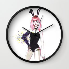 Cosmic bunny girl, original illustration Wall Clock