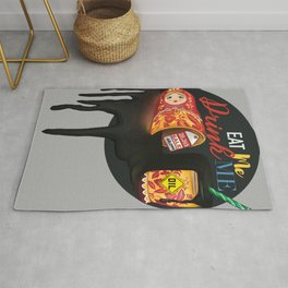 Eat me drink me Traditional Russian Matryoshka with black oil drink on sale Rug
