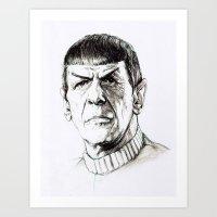 spock Art Prints featuring Spock by Sara (aka Wisney)