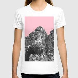Part of Angkor Wat with pink T-shirt