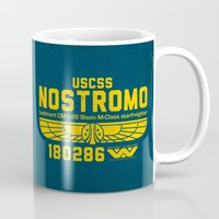 prometheus Mugs featuring USCSS Nostromo by Nxolab