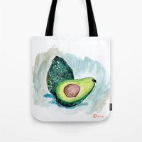 avocado Tote Bags featuring Avocado by Elena Sandovici