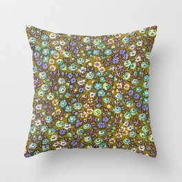 Olivine Garden Party Floral Throw Pillow