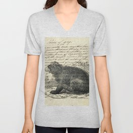 rustic cabin  woodland animal mountain forest grizzly bear Unisex V-Neck