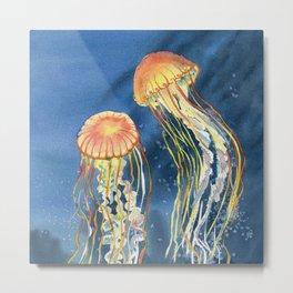 Dancing of Jellyfish Metal Print