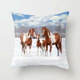 Chestnut Pinto Paint Horses In Snow Throw Pillow