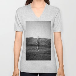 Ghost Girl on the Cliff's Edge - Black and White Film Double Exposure Unisex V-Neck