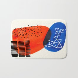 Mid Century Modern abstract Minimalist Fun Colorful Shapes Patterns Orange Blue Bubbles Organic Bath Mat