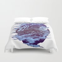 xenomorph Duvet Covers featuring Run. Hide. Survive. by Connick Illustrations