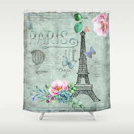 Paris - my love - France Eiffeltower Nostalgy - French Vintage Shower Curtain