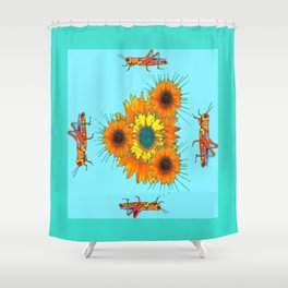 Grasshoppers & Cactus Flowers Aqua Nature Abstract Shower Curtain