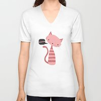 meow V-neck T-shirts featuring Meow by Vickn