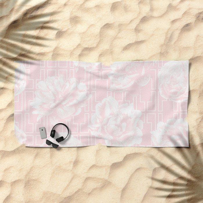 Rose Garden Pink Flamingo on White Mid-Century Lattice Beach Towel