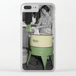 Vintage Washing Machine Clear iPhone Case