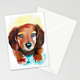 Dachshund Watercolor Painting Art Stationery Cards