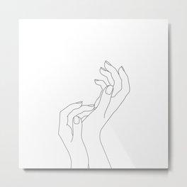 Hands line drawing illustration - Demi Metal Print