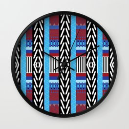 Black Blue Etnic Wall Clock