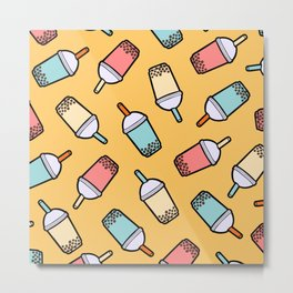 Bubble Tea Pattern Metal Print