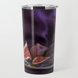 Still life with fresh figs and metal dishes Travel Mug