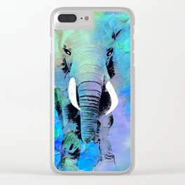ELEPHANT BLUE Clear iPhone Case