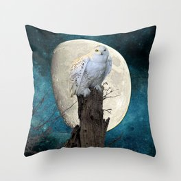 White Snowy Owl Bird Moon Blue A141 Throw Pillow