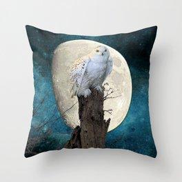 White Snowy Owl Bird Moon Blue A141 Throw Pillow