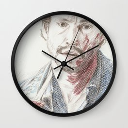 Bloody Will Graham, original colored pencil drawing Wall Clock