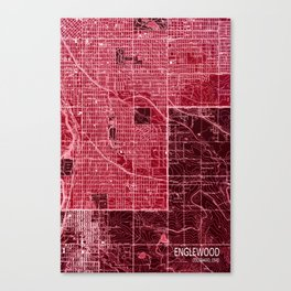 Englewood vintag old map, year 1940 Canvas Print
