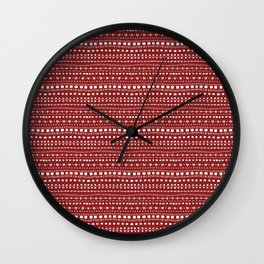 Nordic Knit - Horizontal - Red (Invert) Wall Clock