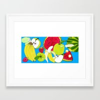 fruits Framed Art Prints featuring fruits by Hobocats