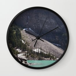 Cliff at Lake Moraine | Landscape Photography | Turquoise Water Wall Clock