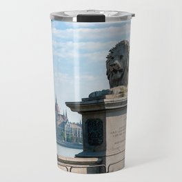 Chain Bridge lion's and Parliament of Budapest Travel Mug